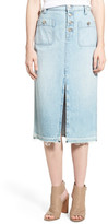 7 For All Mankind Cutoff Denim Midi Skirt (Cool Cloudy Blue)