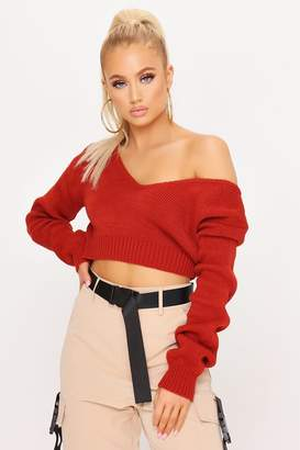 I SAW IT FIRST Rust V Neck Crop Jumper