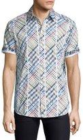 Robert Graham Multicolor Geo-Pattern Short-Sleeve Sport Shirt, White