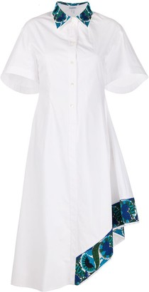Loewe Asymmetric Floral-Embroidered Shirt Dress
