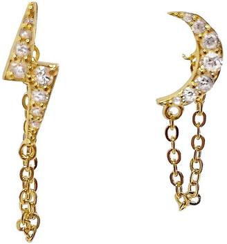 Adina's Jewels Pave Celestial Chain Stud Earrings