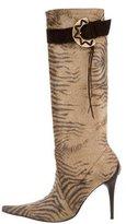 Casadei Printed Velvet Boots
