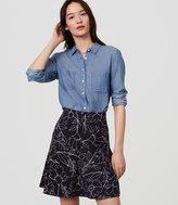 LOFT Petite Sketched Floral Flippy Skirt