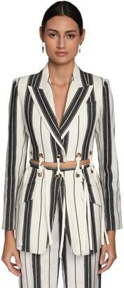 Alexander McQueen Striped Cotton & Linen Jacket W/ Eyelets