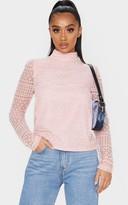 4fashion Petite Dusty Pink Long Sleeve Lace Blouse