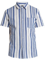 A.P.C. Multi-stripe short-sleeved cotton shirt