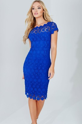 Paper Dolls Blue Crochet Lace Dress With V-Neck Detail