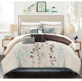 BEIGE 12-Piece Luxury Comforter Set in Floral, King
