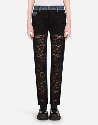 Dolce & Gabbana Denim And Lace Boyfriend Jeans