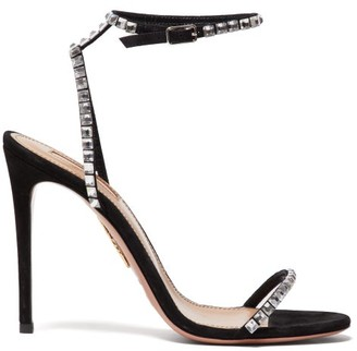 Aquazzura Very Vera 105 Crystal Suede Sandals - Black