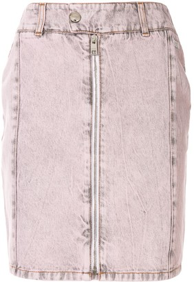 MSGM Zip Detail Acid Wash Skirt