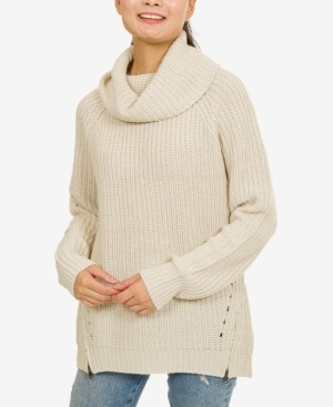 PINK ROSE Hippie Rose Juniors' Cowl-Neck Zip-Detail Sweater