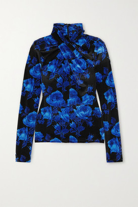 Richard Quinn Twist-front Floral-print Stretch-velvet Top - Blue