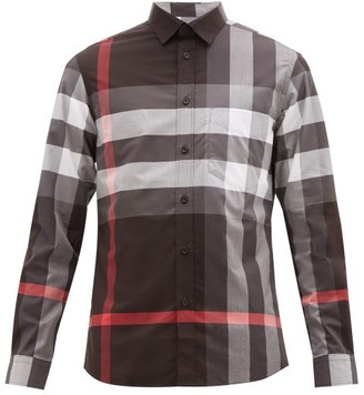 Burberry Somerton Nova-check Cotton-blend Poplin Shirt - Grey Multi