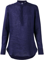 E. Tautz slim-fit grandad collar shirt