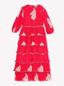 Ganni Pleated Georgette Maxi Dress Lollipop - 34