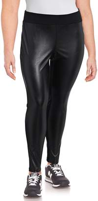 INC International Concepts Plus Faux Leather Front Leggings