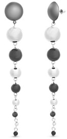 Steve Madden Women's Graduated Ball Black and Silver-Tone Drop Earrings