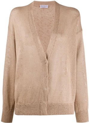 Brunello Cucinelli Sequn-Embellished Dropped Shoulder Cardigan