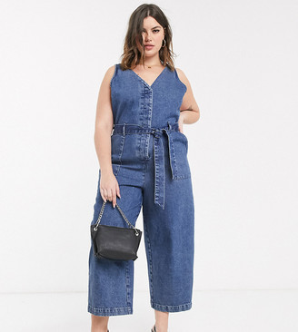 Asos DESIGN Curve denim v neck jumpsuit in blue