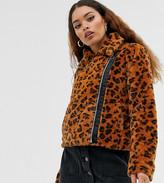 Brave Soul Petite carla faux fur leopard biker jacket