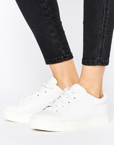 Monki Leather Look Lace Up Sneakers