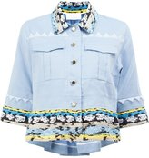 Peter Pilotto embroidered trim cropped shirt - women - Cotton/Linen/Flax/Polyamide/Viscose - 10