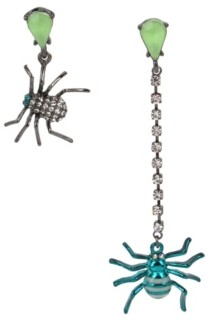 Betsey Johnson Spider Mismatch Linear Earrings