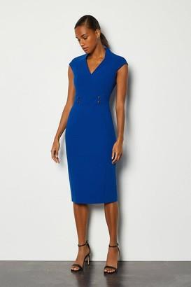 Karen Millen Forever Cap Sleeve Stud Waist Dress