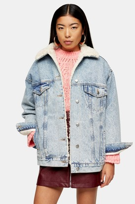Topshop Womens Bleach Super Oversized Borg Lined Denim Jacket - Bleach Stone