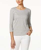 Charter Club Petite Cotton Elephant-Print Top, Only at Macy's