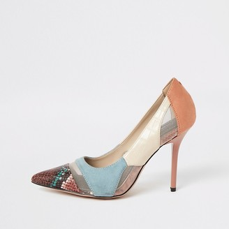 River Island Blue snake printed mesh wide fit court shoes