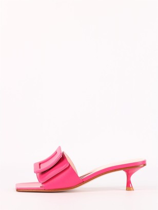 Roger Vivier Pink Covered Buckle Mules