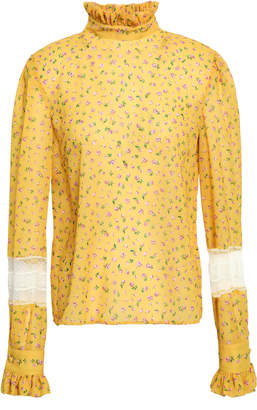 Philosophy di Lorenzo Serafini Lace And Ruffle-trimmed Floral-print Chiffon Blouse
