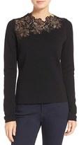 Elie Tahari Women's 'Samantha' Lace Yoke Stretch Merino Wool Sweater