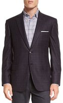 Brioni Plaid Two-Button Jacket, Aubergine/Gray