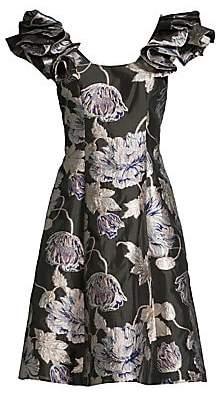 Aidan Mattox Women's Floral Jacquard A-Line Dress