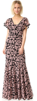 Milly Floral Print Deni Maxi Dress