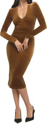 Good American Deep V-Neck Long Sleeve Velvet Body-Con Dress