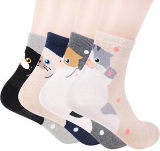 Okie Okie Womens Cat Socks - Crazy Cute Animal Dog Owl Print Crew Novelty Fun Funny Gift (Animal - Cats Back 4pcs)