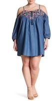 Blu Pepper Embroidered Cold Shoulder Dress (Plus Size)