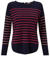 Cocoa Cashmere Striped Jumper in Navy with Mango