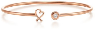 Tiffany & Co. Paloma Picasso loving heart wire bracelet in 18ct rose gold with diamonds - Size Medium