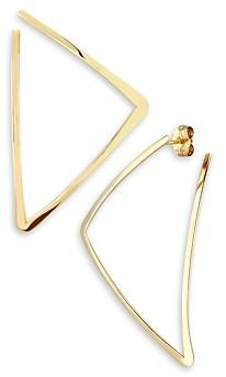 14k Open Gold Triangle Hoop Earring stud triangle earring minimal hoop earring thin earring geometric stud earring open earring design 0218