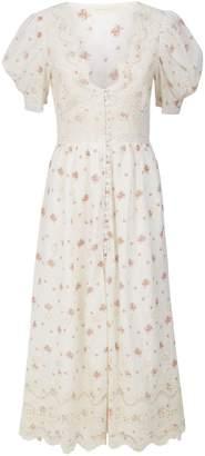 LoveShackFancy Stacy Floral Crochet Duster Dress