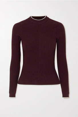 Vaara Filipa Trueknit Ribbed Wool-blend Top - Plum