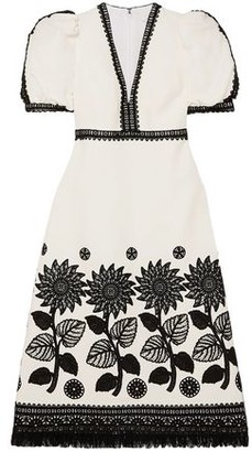 Andrew Gn Fringed Lace-trimmed Woven Dress
