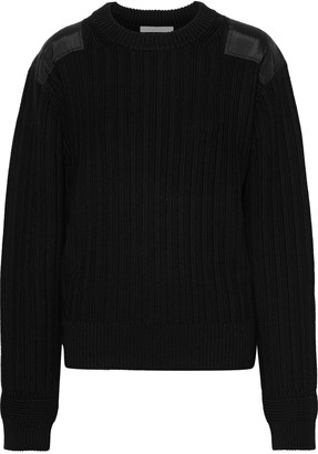 Helmut Lang Sateen-appliqued Ribbed Cotton Sweater