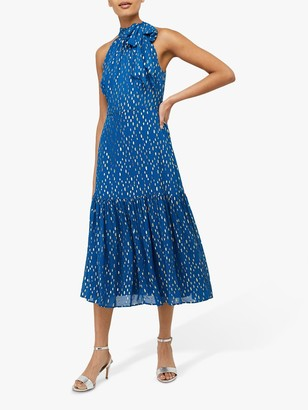 Monsoon Leilani Tiered Midi Spot Dress, Blue