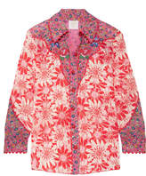 Anna Sui Embroidered Printed Silk-crepon Shirt - Pink